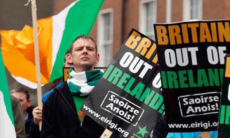 Republican group Eirigi gather in Dublin to demonstrate against the visit the Queen to Ireland