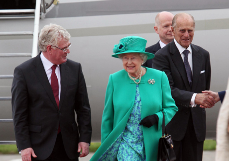 The Queen, the Duke of Edinburgh and William Hague arriving in Ireland yesterday