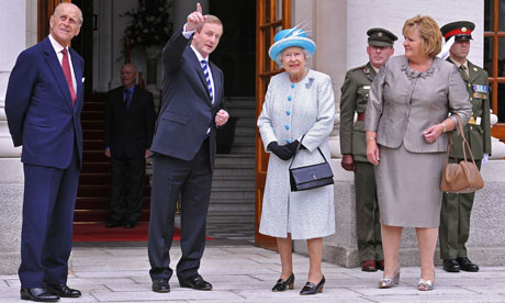 Irish Prime Minister Enda Kenny greets Queen Elizabeth at Goverment Buildings in Dublin, Ireland