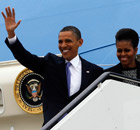 President Barack Obama and first lady Michelle Obama step off Air Force One as they arrive in Dublin