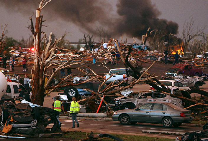 US tornado: Emergency in a neighborhood damaged by a tornado in Joplin, Missouri