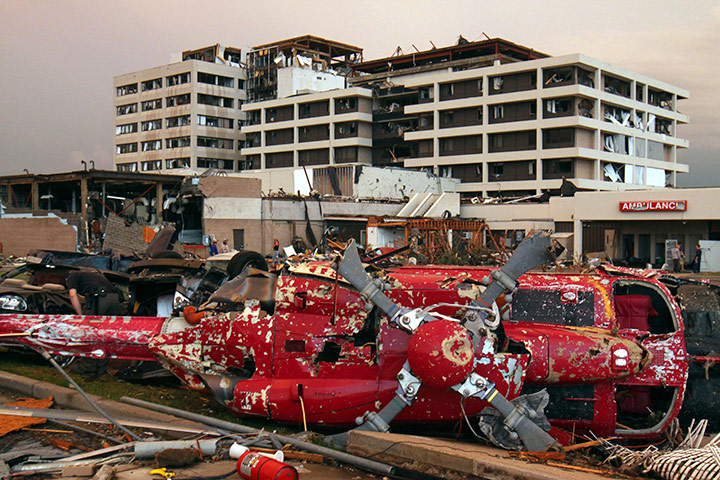 US tornado: A destroyed helicopter in the parking lot of the Joplin, Missouri