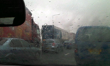 M62 motorway traffic in the rain