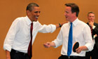 Obama and Cameron play table tennis