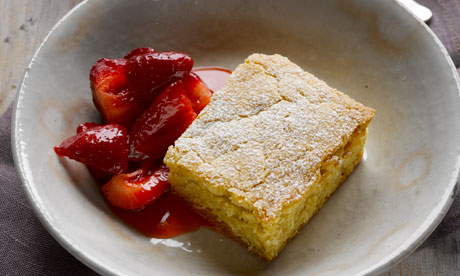 Blondie with macerated strawberries