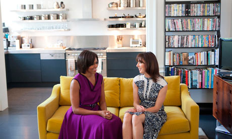 Michelle Obama and Samantha Cameron talk before having tea in the private residence, Downing Street