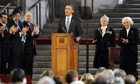 Barack Obama is applauded as he speaks at the British parliament