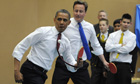 Obama and Cameron team up to play table-tennis