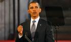 Barack Obama delivers his speech