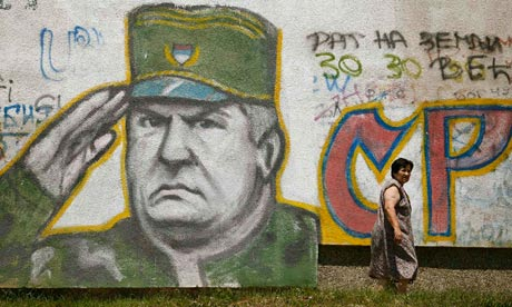 Graffiti of former Bosnian Serb commander Ratko Mladic, who has not been seen in public since 2000