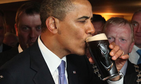 Barack Obama drinks Guinness on his visit to Ireland