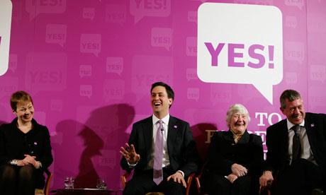 Yes to AV: Caroline Lucas, Ed Miliband, Baroness Shirley Williams and John Denham