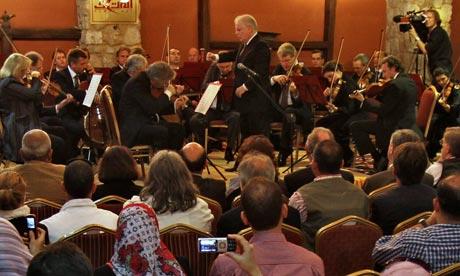 Daniel Barenboim conducts the Orchestra for Gaza in Gaza City