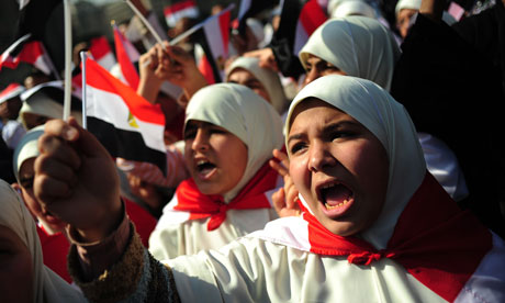 Egyptian women protesting in Tahrir Square