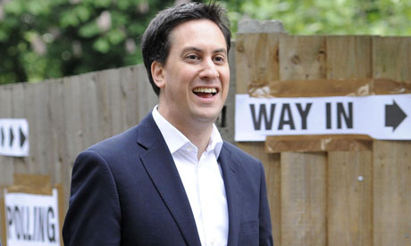 Ed Miliband arrives at Parliament Hill School polling station