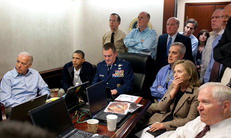 Barack Obama, Joe Biden, Hillary Clinton and others receive an update on the mission Osama bin Laden