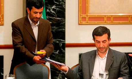 Mahmoud Ahmadinejad and his chief of staff, Esfandiar Rahim Mashaei, who is described as 'the actual president of Iran' by allies of the country's supreme leader.