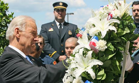 US vice-president Joseph Biden lays a wreath at the Pentagon in memory of 9/11 victims