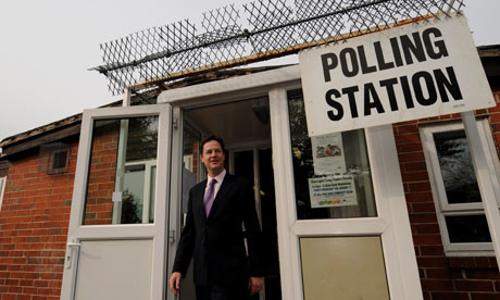 Nick Clegg leaves Sheffield polling station