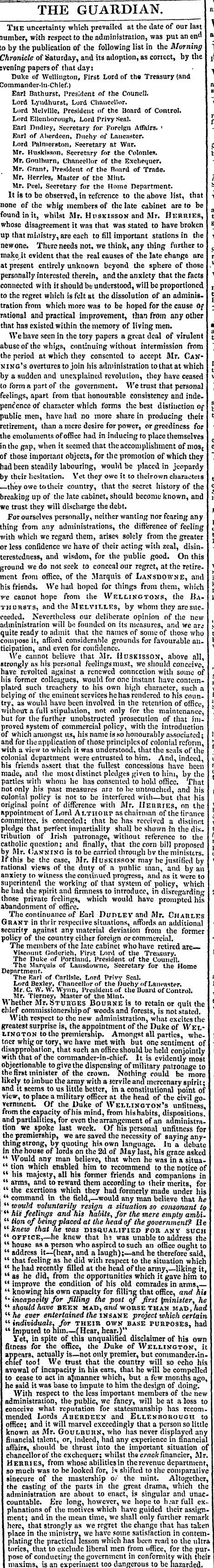 1828 Duke of Wellington editorial