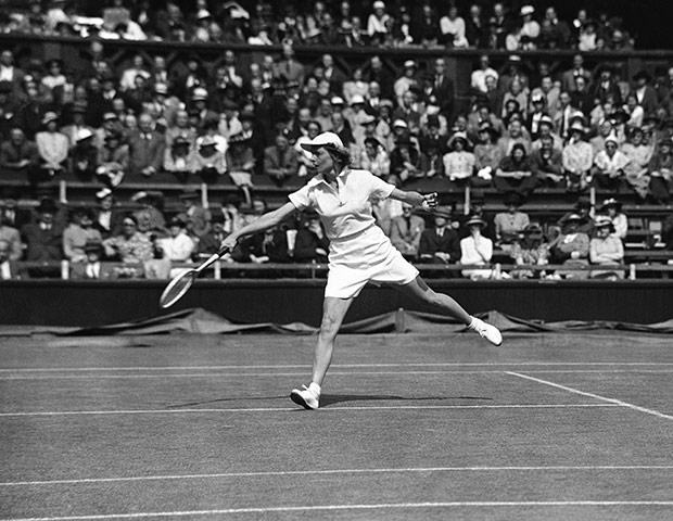 Tennis Fashion: American tennis player Alice Marble at Wimbledon in June 1937