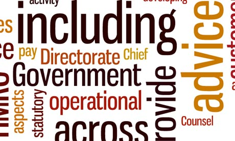Senior civil service job descriptions as a Wordle