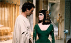 Richard Burton with Elizabeth Taylor on the set of Cleopatra
