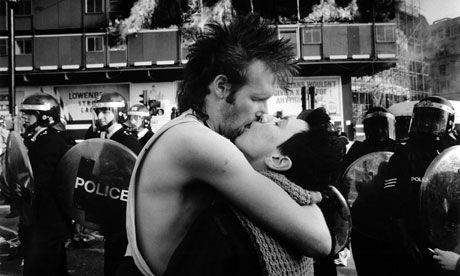 A couple kiss during the poll tax riots in 1990.