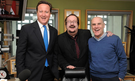 David Cameron with Steve Wright and co-presenter Tim Smith