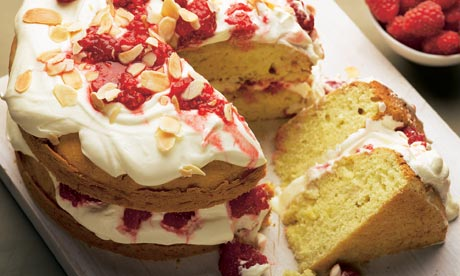 Almond layer cake with crushed raspberries recipe | Dan Lepard ...