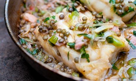 Angela Hartnett's poached cod and lentils.