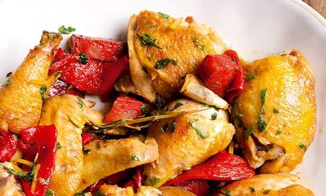 Angela Hartnett's chicken with chorizo, peppers and sage.