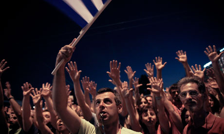 Protests against planned austerity measures, Syntagma square, Athens, Greece - 19 Jun 2011