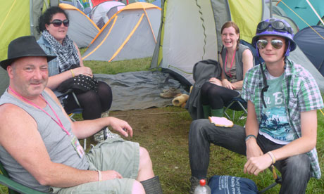 Campers at Glastonbury