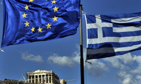 The European and the Greek flags in Athens