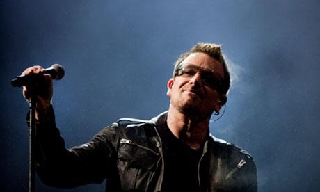 Bono of U2 at Glastonbury 2011