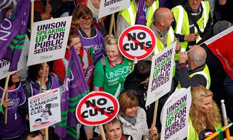 Union members at an anti-cuts march