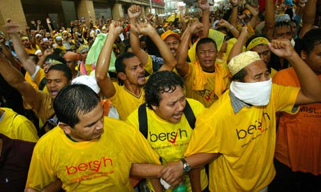 Malaysian activists in Bersih (Clean) T-shirts at a 2007 rally