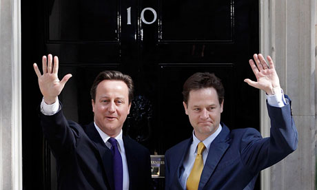David Cameron and Nick Clegg on the first day of the coalition government in May 2010