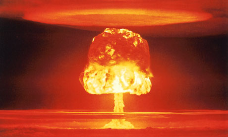 Mushroom cloud over Bikini Atoll from a nuclear test