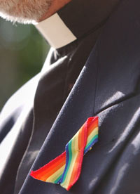 A rainbow ribbon in support of gay clergy