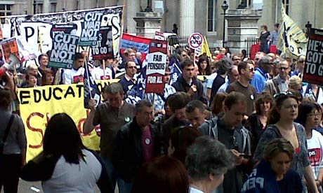 Striking public sector workers on 30 June 2011.