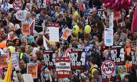 Public sector workers take part in a march through central London