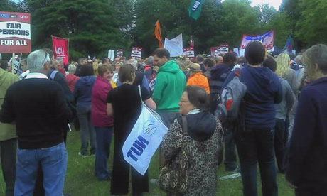 Public sector workers striking in Cardiff on 30 June 2011.