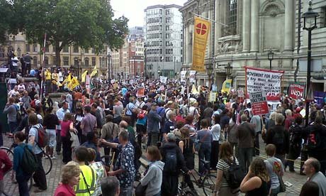 Strikers outside Westminster Central Hall on 30 June 2011.