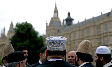 British Muslim Forum on College Green outside Parliament