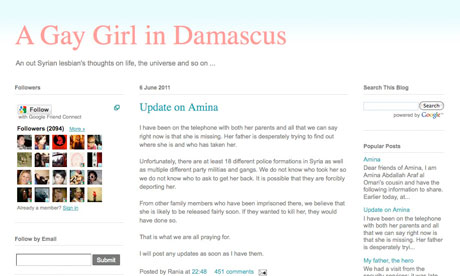 The Gay Girl in Damascus's blog page's last update, on 6 June.