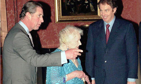 Prince Charles, the Queen Mother and Tony Blair at Buckingham Palace in 1998