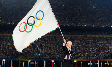 Boris Johnson waves the flag to signify the handover to London