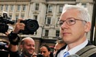 Julian Assange at high court in London